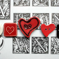 Mixed ceramic buttons - birds and hearts
