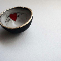 Tiny winged love heart bowl - ring bowl - Mothers day gift