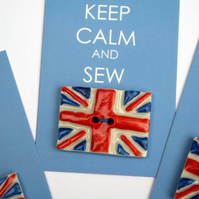 Handmade Union jack buttons - Keep calm - British flag buttons - Jubilee