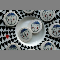 Handmade ceramic buttons - pierrot