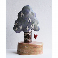 Ceramic tree sculpture - Lilac Tree of Love-Tree with heart