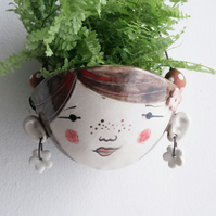 Ceramic hanging planter- Poppy hipster-garden ornament