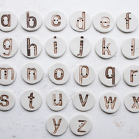 alphabet buttons - handmade ceramic letters