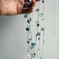 Forget-me-not blossom garland necklace-porcelain flowers with pale blue glaze
