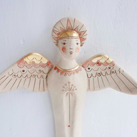 Archangel wall sculpture-ceramic wall art-gold leaf-angel art