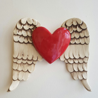 Winged heart wall art - ceramic wall piece - red heart
