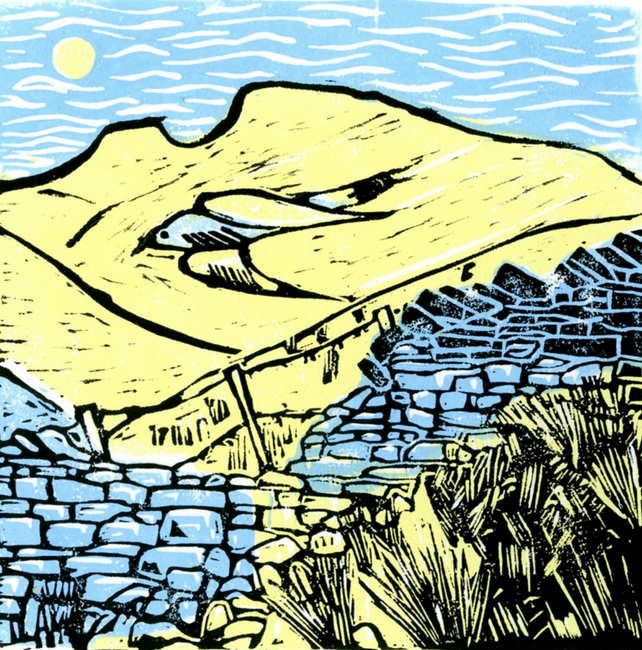 Original signed linocut print. Landscape with cuckoo. Yellow and blue.