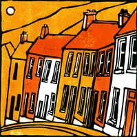 Valley Houses (Orange) Greeting Card.