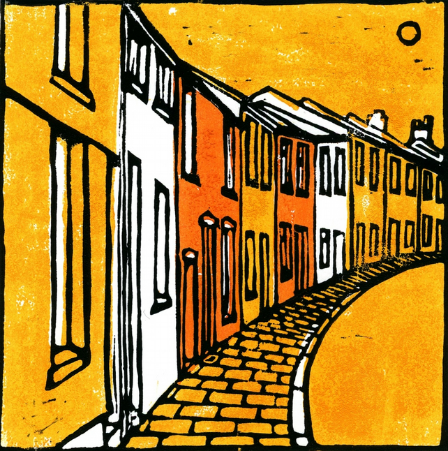 Terraced Houses (Orange) Greeting Card.