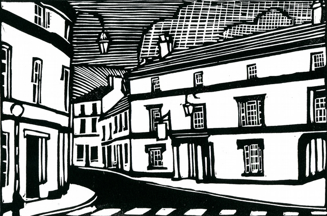 Linocut print of The Bear in Crickhowell. Black and white original signed print.