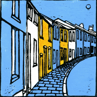 Terraced Houses, Lino cut Print.