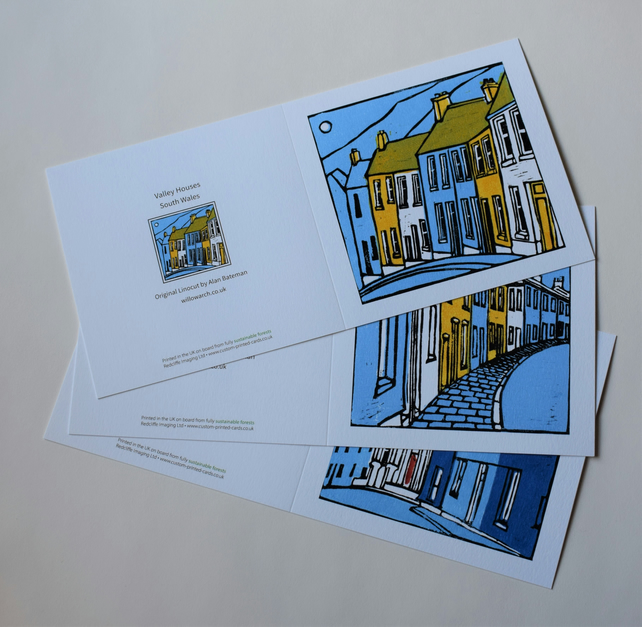 Set of Three Blank Cards, Terraced Houses and Blue Chapel, 5in x 5in.