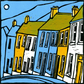 Greeting Card of Valley Houses, 5in x 5in.