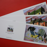 Set of Three Greeting cards of Churches, 6in x 4in.
