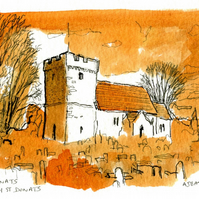 Pen, ink and watercolour of Welsh St Donat's Church.
