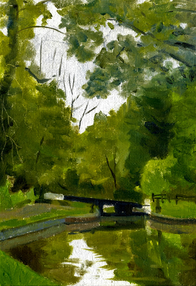 Small Oil Sketch. Canal Lock, 5in x 7in.
