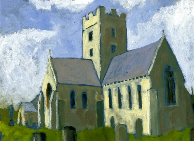Painting of Church, Coychurch oil sketch, 5in x 7in.