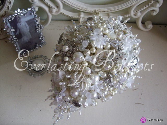 Vintage, pearl, crystal and brooch wedding bouquet