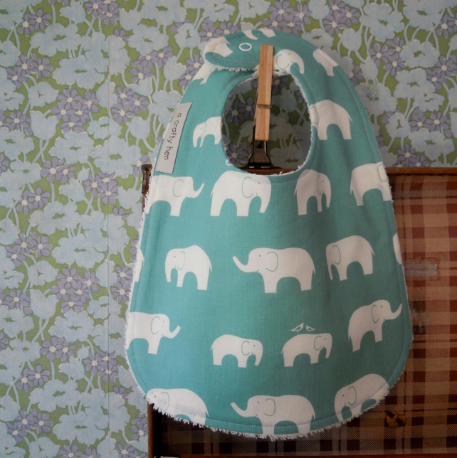 Luxurious Organic Baby Bib Elephants