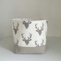 Fabric Storage Basket Modern Grey Deer Small Nursery Storage Container