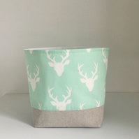 Storage Basket Mint Deer, Modern Nursery Storage, Small Fabric Bin
