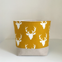 Nursery Storage, Storage Basket, Deer in Mustard, Fabric Basket, Modern Baby
