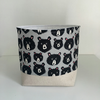 Fabric Storage Basket, Nursery Storage, Bears, Storage Bin
