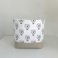 Fabric Storage Basket, Small Storage Bin, Mr Bear Black and White