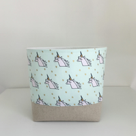Storage Basket, Fabric Basket, Nursery Storage, Unicorns,  Storage Container