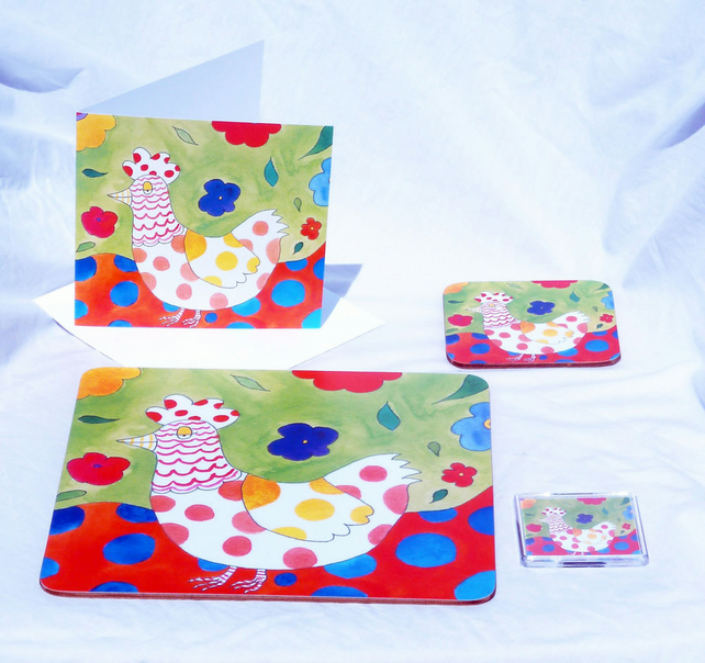 Placemat Coaster Card Magnet Farmyard Colourful Chicken Gift Set