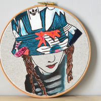Hoop art, Contemporary Embroidery Art, Adidas stitched portrait of girl