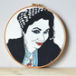 Embroidery hoop art, contemporary hand embroidery, pop art, mixed med
