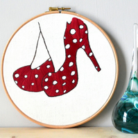 Embroidery hoop art, Red and white shoes, contemporary hand embroidery