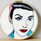 Mixed media, Hoop Art, Retro vintage lady, Advertising Art