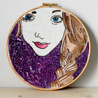 Embroidery Hoop art, contemporary hand embroidery, mixed media
