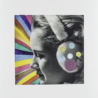 Mixed media collage, woman with earmuffs, rainbow disco diva