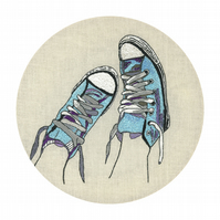 Fine art limited edition signed print, Converse All Stars, Hoop art, Embroidery