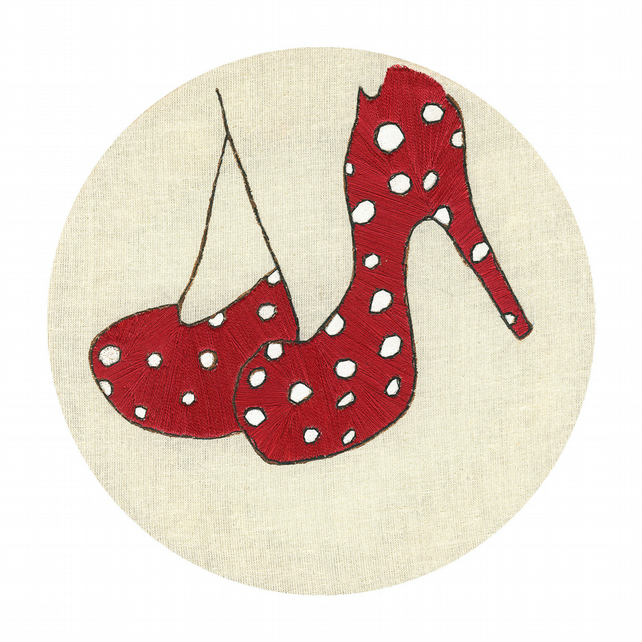 Fine art limited edition signed print, Pop Art, Embroidery,  Red Shoes, Textiles