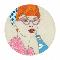 Limited Edition Fine Art Print Pop Art Pink Glasses lady