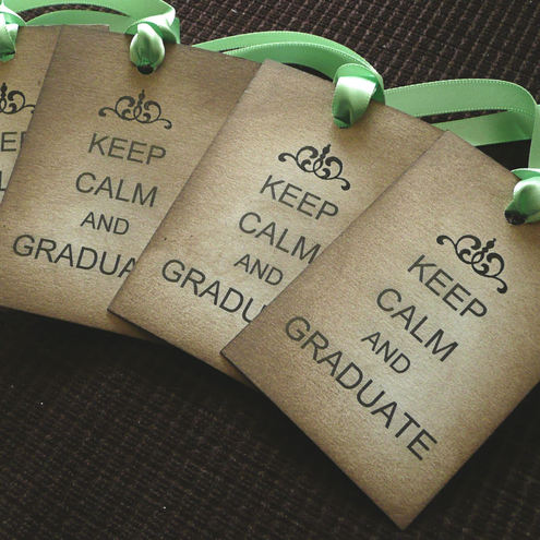 KEEP CALM AND GRADUATE - Green ribbon VINTAGE STYLE TAGS - Passed Exams