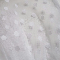 White polka dot tulle fabric - 45 wide - sold per metre