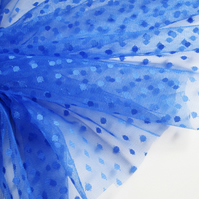 Royal blue spot tulle fabric - sold per metre