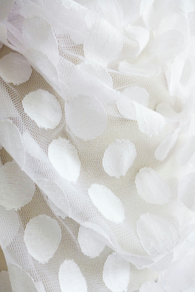"White large spot tulle fabric - 56"" wide - sold per metre"