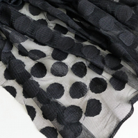 Black large spot tulle fabric - sold per metre