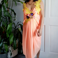 MAGDALENE - neon whimsical upcycled slip dress with bright yellow trims