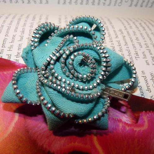 Turquoise Zip Rose Brooch
