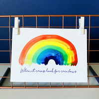 Rainbow Postcard Watercolour Rainbow Watercolour Postcard