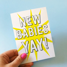 New Babies Card Congratulations card New babies greetings card twins triplets