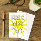 Mrs & Mrs Congratulations card married partnership civil partnership Marriage ca
