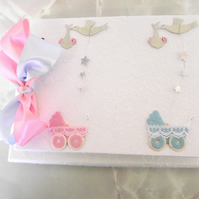 Personalised Christening Guest Book for Twins